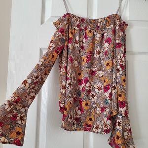 Off-the-shoulder floral blouse